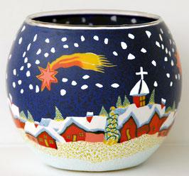 Teelicht-Leuchtglas Winterdorf mit Komet