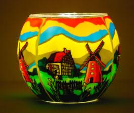 Teelicht-Leuchtglas Mühle