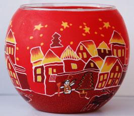 Teelicht-Leuchtglas Stadt rot bei Nacht