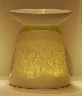 Porzellan Aromalampe Motiv Katzen