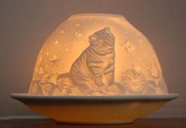 Porzellan-Windlicht Kätzchen