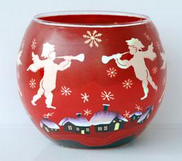 Teelicht-Leuchtglas Engel rot