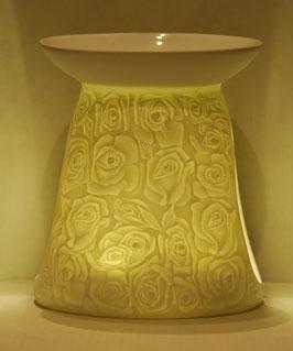 Porzellan Aromalampe Motiv Rosen
