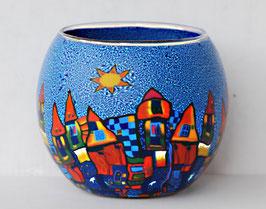 Teelicht-Leuchtglas Stadt blau