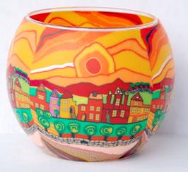 Teelicht-Leuchtglas Stadt orange
