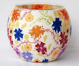 Teelicht-Leuchtglas Blume weiß