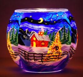 Teelicht Leuchtglas Motiv Kirchlein