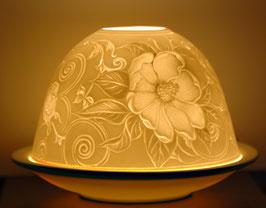 Porzellan-Windlicht  Heckenrose