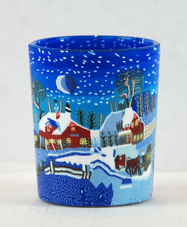 Votiv-Glasbecher Winterlandschaft Blau