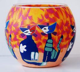Teelicht-Leuchtglas Katzen orange