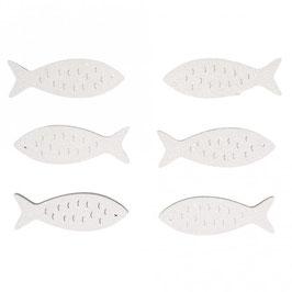 Holz-Streuteile Fische in weiß oder grün mit Glitter