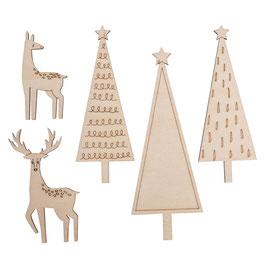 Holzmotive *Bäume, Hirsch und Reh*