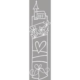Holz-Stempel *Kirche mit Hochzeitsglocken*