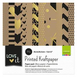 Papier-Block Vaessen Creative**Kraftpapier bedruckt**gold/schwarz/Kraft* 24 Bögen in 30,5 x 30,5 cm