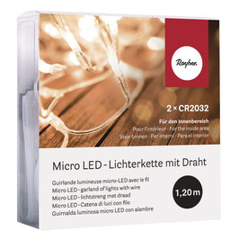 10er Mini LED-Lichterkette für innen in warmweiß mit extra-kleinem Batteriefach