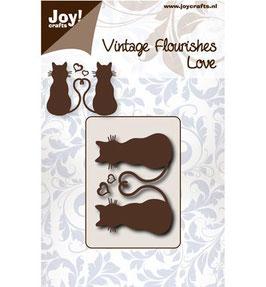 Stanz- und Prägeschablone *Vintage Flourishes - Katzen*