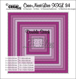 Crea-Nest-Lies XXL Stanzschablonen-Set No. 34 *Double Stitch Squares*