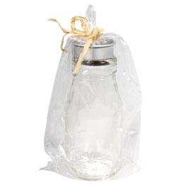 Glas-Flasche mit Teelichthalter