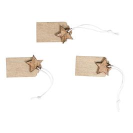 Holz-Tag / Holzanhänger mit Kork-Stern oder Filz-Baum zum Hängen
