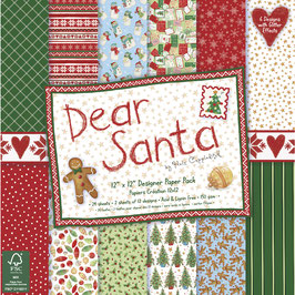 Scrap-Block*Dear Santa*Designer Paper Pad mit Glitzereffekten** 30,5 x 30,5 cm oder 15,2 x 15,2 cm
