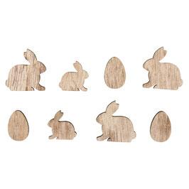 Holz-Streuteile Hasen und Eier