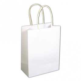 Kleine Papiertaschen mit Henkel, weiß und Natur in verschiedenen Größen