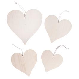 4 Holz-Herzen Set zum Hängen