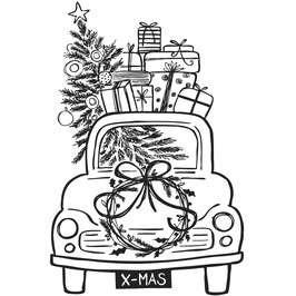 Holz-Stempel *Driving Home For Christmas*