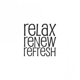 Holz-Stempel *relax - renew - refresh*