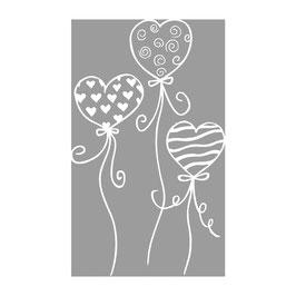 Holz-Stempel *fliegende Herzballons*