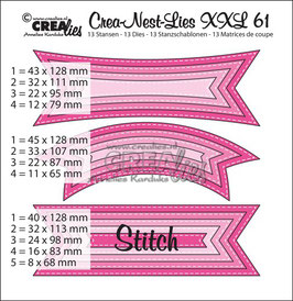 Crea-Nest-Lies XXL Stanzschablonen No. 61 *Tags with stitch lines*