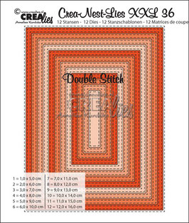 Crea-Nest-Lies XXL Stanzschablonenv-Set No. 36 *Double Stitch Rectangles*