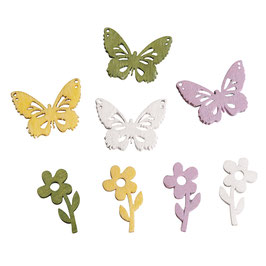 Holz-Streuteile Blumen & Schmetterlinge!