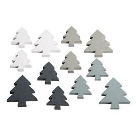 Holz-Streuteile *Tannenbäume, Sterne und Schneeflocken* grau, anthrazit und weiß!