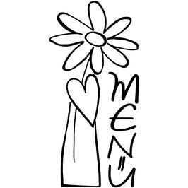 Holz-Stempel *Menü mit Blumen*!