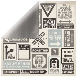 KaiserCraft Scrapbookingpapier Serie *Just Landed*  Sign Posts