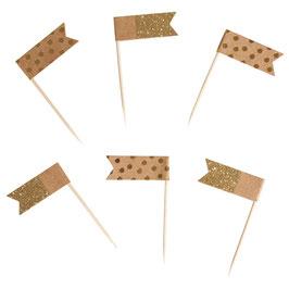Flaggenpicker sortiert, Kraftpapier gold oder silber