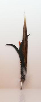 Großer Federschmuck aus Fasanen- und Hahnenfedern + Orange inkl. Hülse