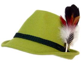 Trachtenhut apfelgrün mit edler kleiner Feder