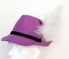 Trachtenhut flieder/lila mit Adlerflaum (Imitat)