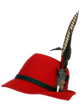 Trachtenhut rot mit edler großer Feder
