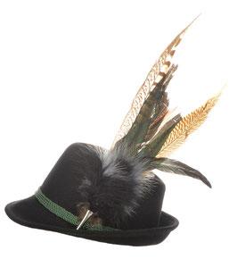 Trachtenhut schwarz mit edler großer modischer Feder