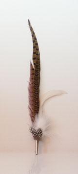 Großer Federschmuck aus Fasanen- und Hahnenfedern weiss inkl. Hülse