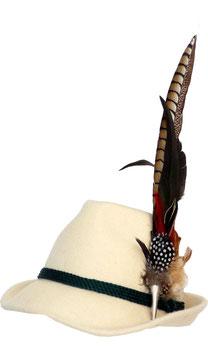 Trachtenhut naturweiß mit edler großer Feder