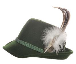 Trachtenhut grün mit edler silbener Feder