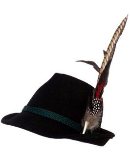 Trachtenhut schwarz mit edler großer Feder