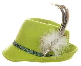 Trachtenhut apfelgrün mit edler silbener Feder