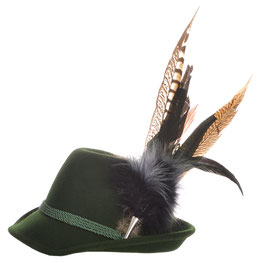 Trachtenhut grün mit edler großer modischer Feder