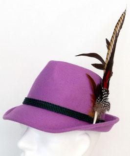 Trachtenhut flieder/lila mit edler großer Feder