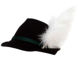 Trachtenhut schwarz mit Adlerflaum (Imitat)